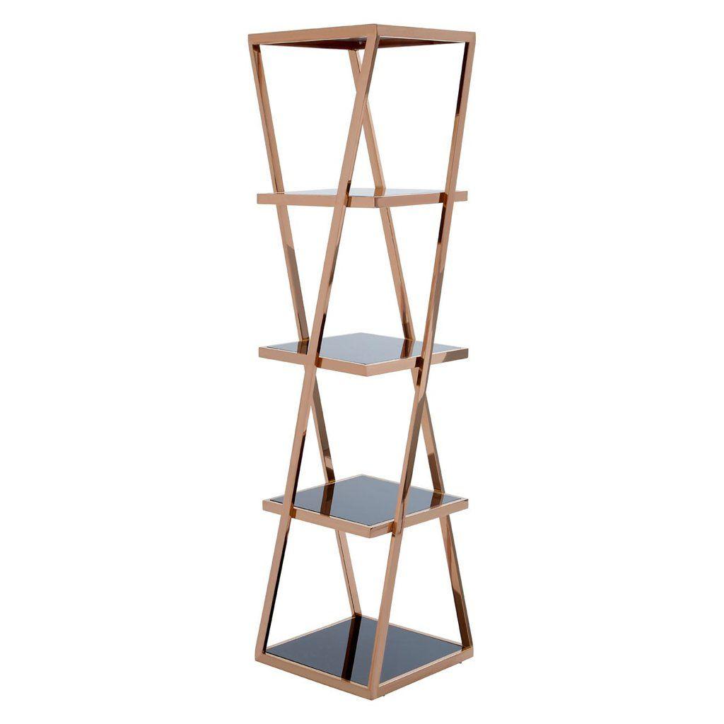 5 Tier Rose Gold Shelf Unit Gold Shelves Shelf Unit Glass Shelves