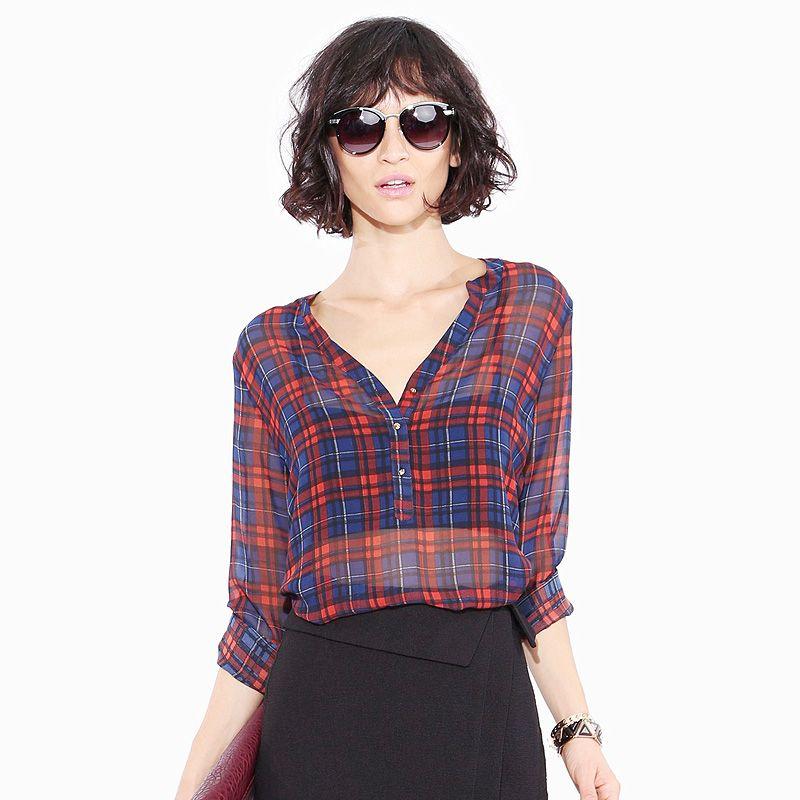 67693fe7 RICHCOCO Summer Spring Autumn Women's Shirts Preppy Style Classic Item  Red&blue Plaid V-neck Loose Transparent Blouses D567