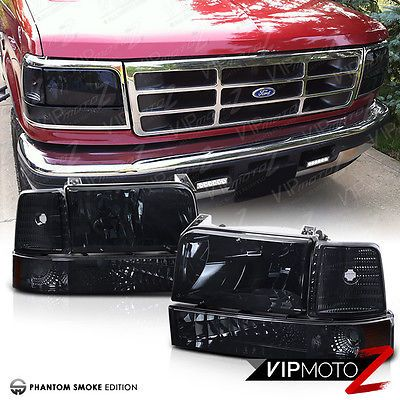 Details About Smoked 1992 1996 Ford F150 F250 F350 Bronco Corner Bumper Signal Headlight Lamps Con Imagenes Camionetas Autos Compras