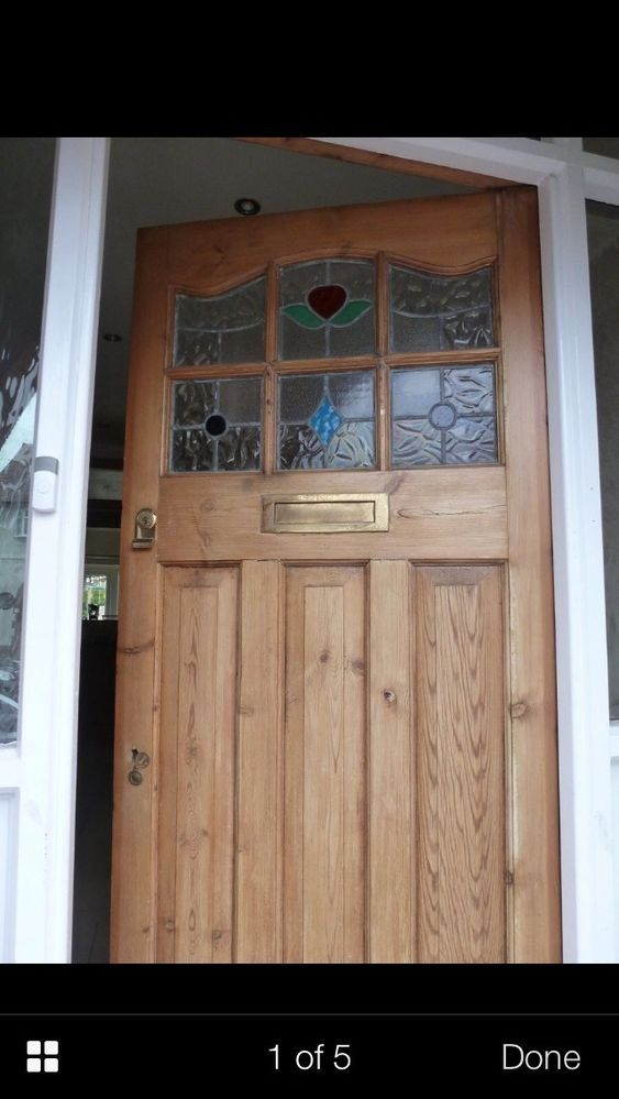 1930s Front Door Art Deco Old Timber Wood Reclaimed Stained Glass