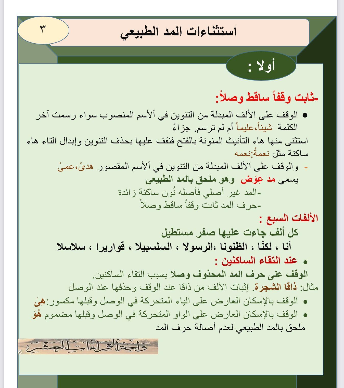 استثناءات المد الطبيعي ١ Quran Quotes Islam Facts Tajweed Quran