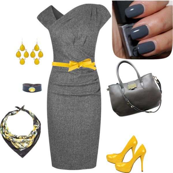 """""""Yellow & 50 Shades of Grey"""" by psuetani on Polyvore"""
