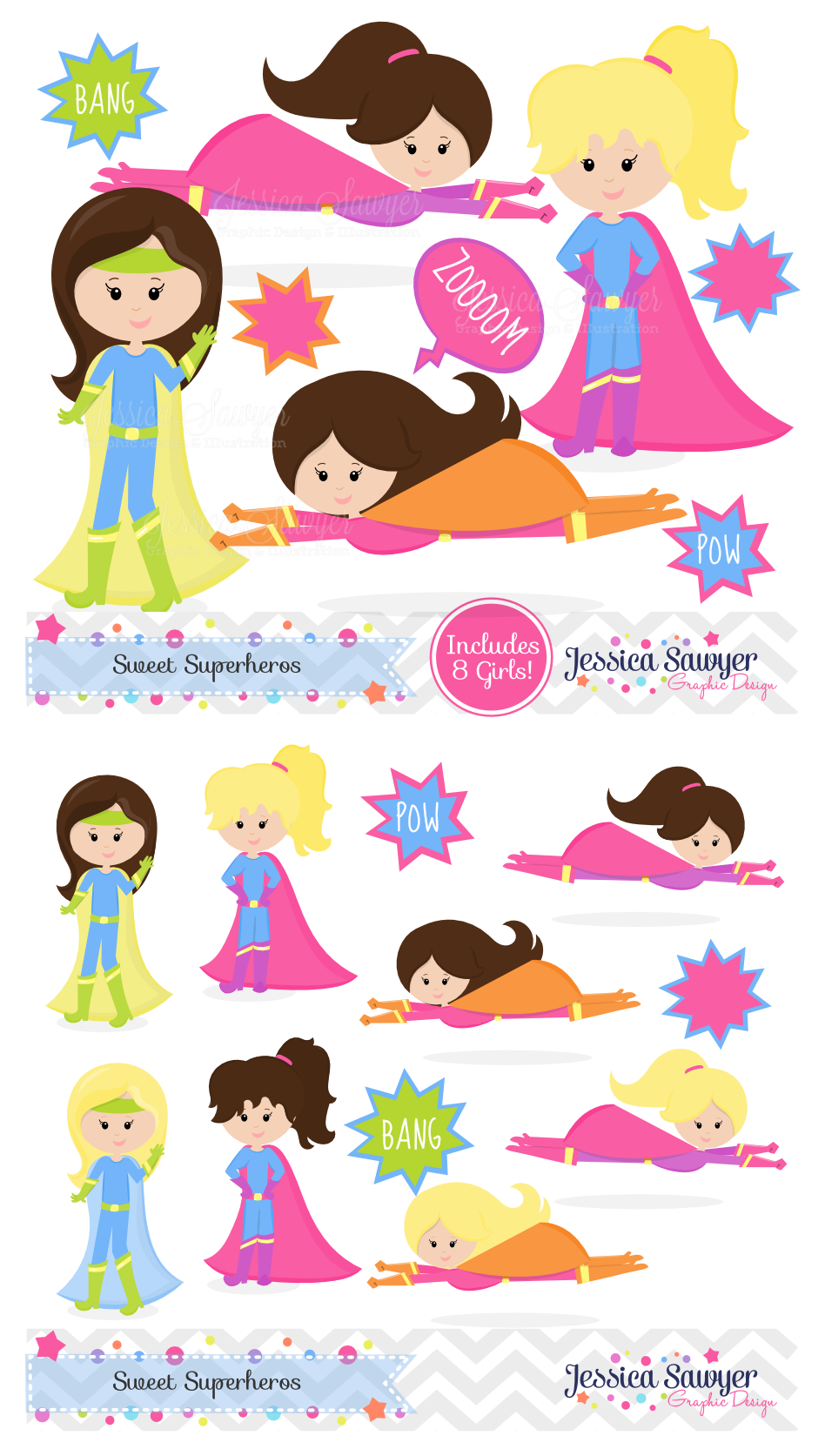 superhero clipart and vectors for a girls superhero party or products superhero clipart girl [ 948 x 1673 Pixel ]