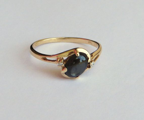 14k Y Gold Natural Black Star Sapphire Ring Tiny Diamond Etsy Star Sapphire Ring Tiny Diamond Star Sapphire