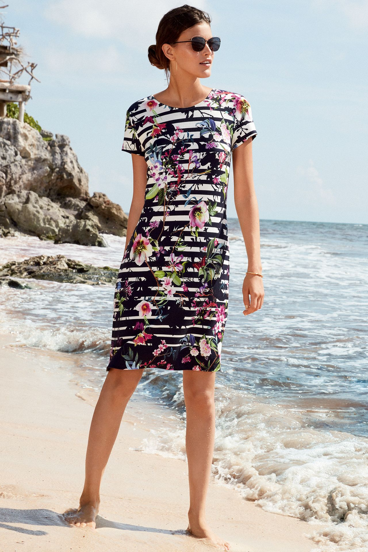 Betty Barclay gestreepte jurk met bloemenprint