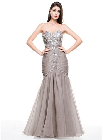 Trumpet/Mermaid Sweetheart Floor-Length Organza Prom Dress With ...