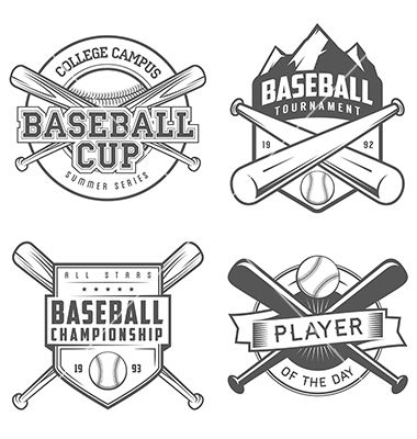 set of vintage baseball labels and badges vectorivanbaranov on