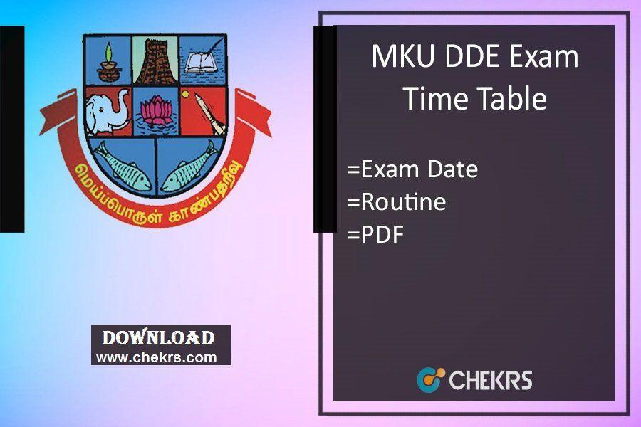 Mku Dde Exam Time Table 2018 Ba Bsc Bcom Ma Msc Mcom Date Sheet