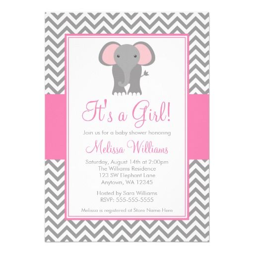 elephant chevron pink gray girl baby shower card   gray chevron, Baby shower invitations