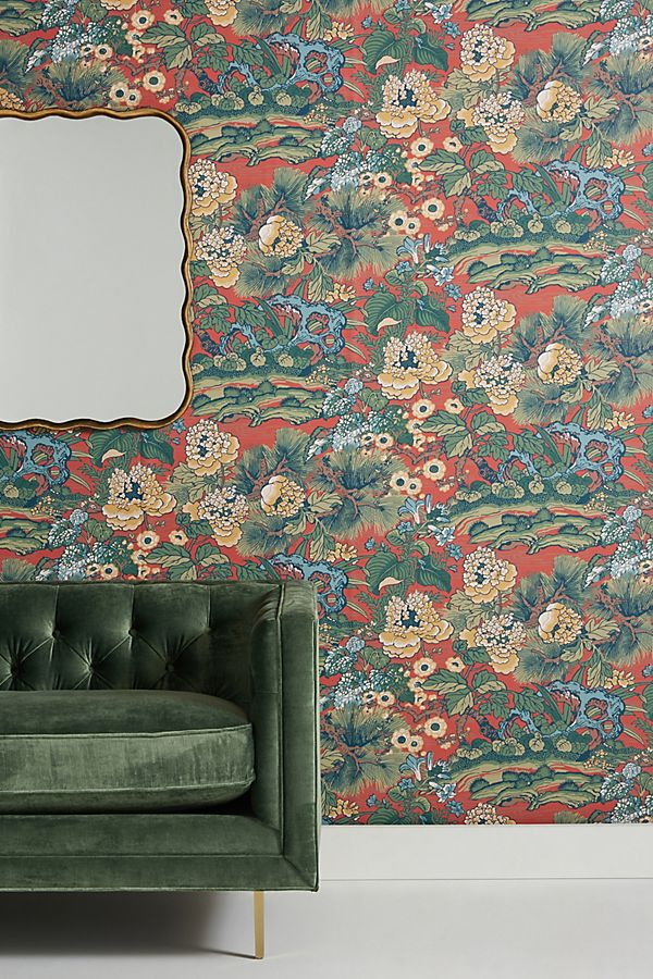 Floral Dynasty Wallpaper by Anthropologie in Green, Wall