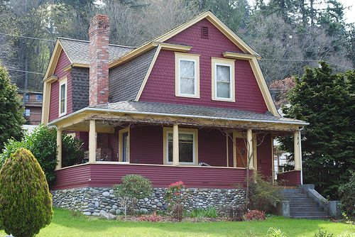 Superb Red Exterior Houses | Exterior Color Schemes::Red::Paint Colors For The