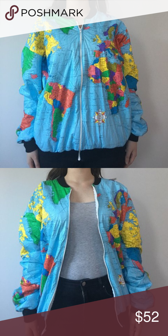 Map print bomber jacket printed bomber jacket vintage jacket and map print bomber jacket vintage ty breakers world map print fleece lined bomber x aka gumiabroncs Gallery