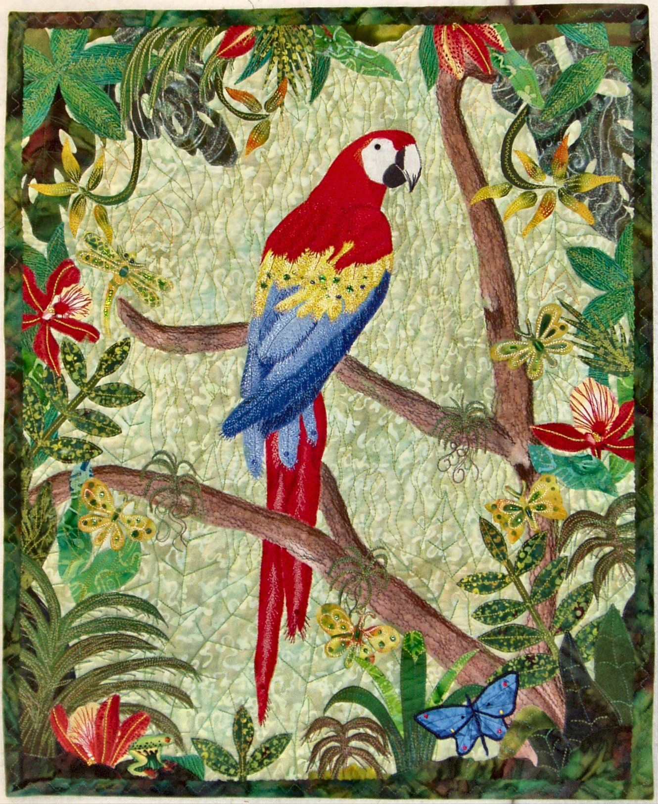 """Scarlet Macaw in a Tropical Forest, 18"""" x 22"""", by Georgia Heller (2005)"""