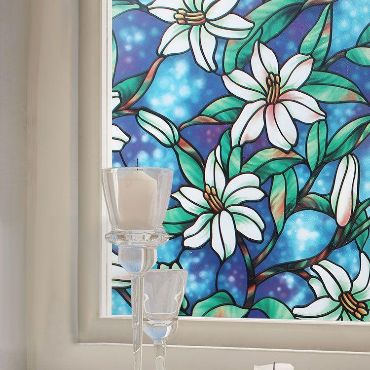 Kcasa G001 45cmx200cm Modern Flower Pattern Glass Stickers Bathroom