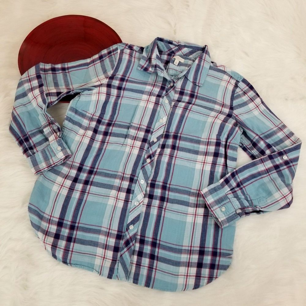 2f72dbcf04c8f8 Talbots Petites Womens Top Size MP Medium Blue Plaid Long Sleeve Button Down  o82 #Talbots