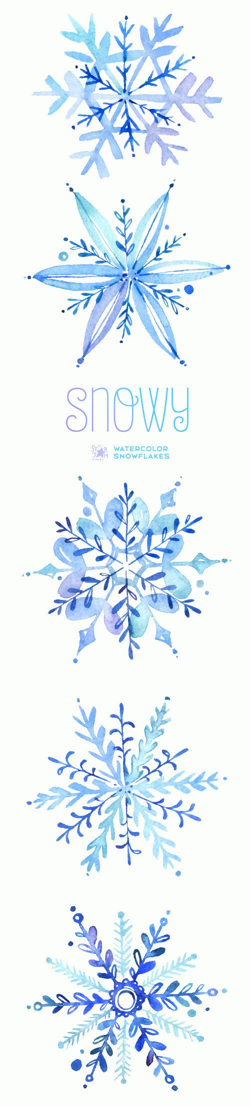 Snowy. Watercolor winter clipart, snowflakes, christmas, holiday ...