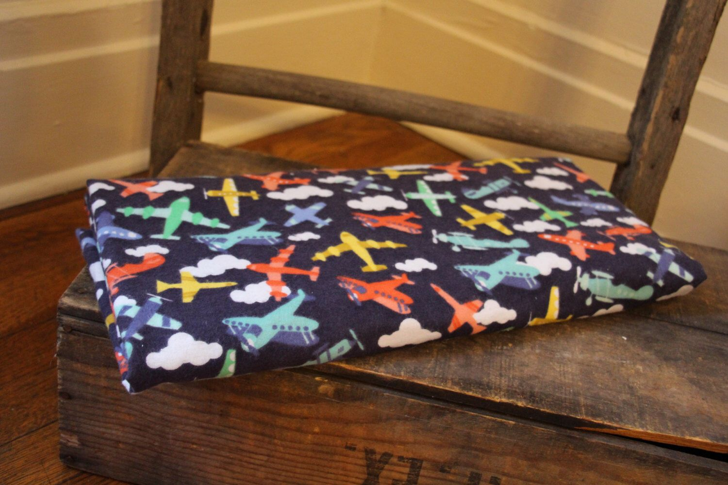A personal favorite from my Etsy shop https://www.etsy.com/listing/229817374/air-plane-baby-blanket-green-baby-boy