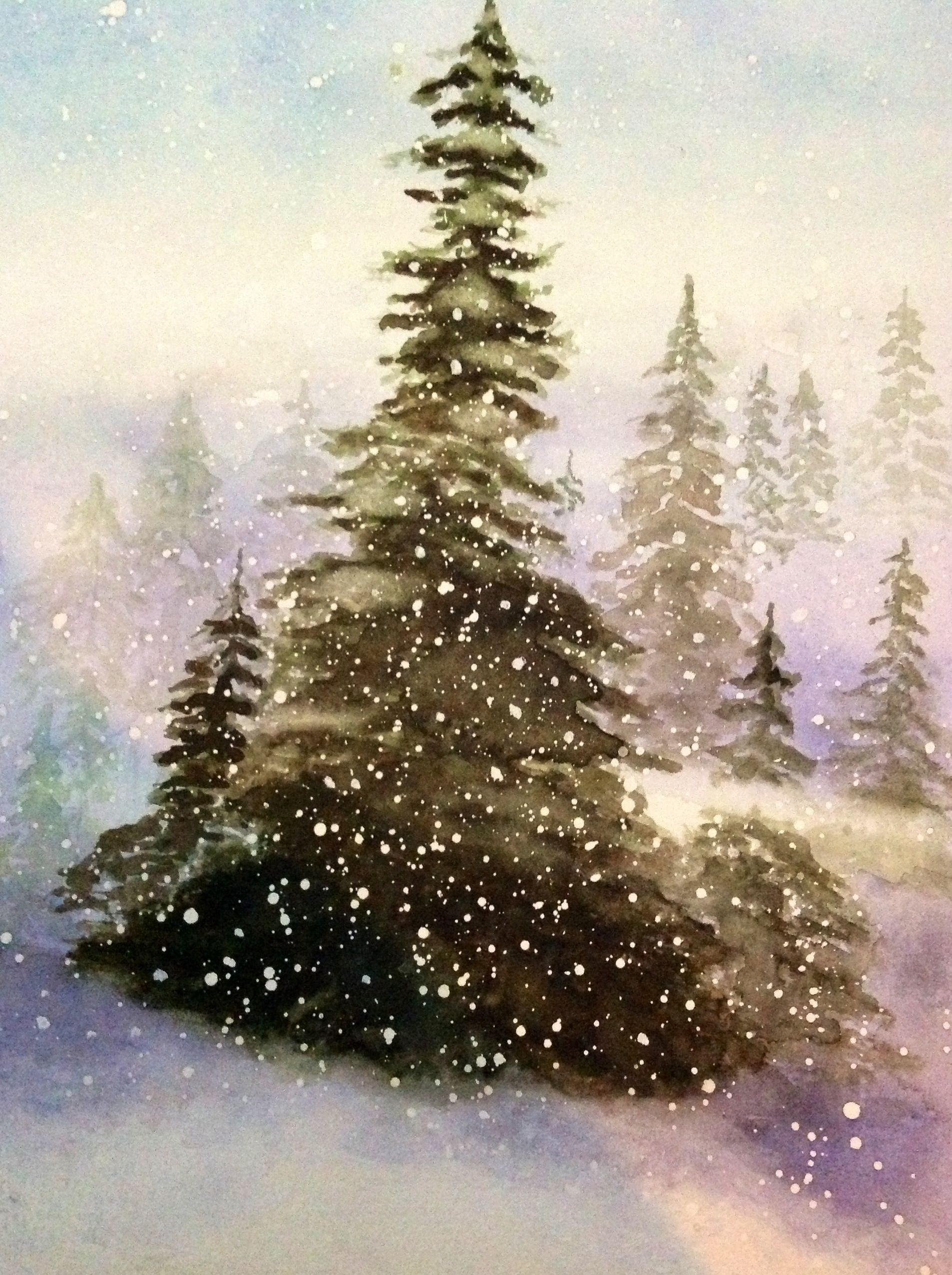 Watercolor Trees Snow Christmas Watercolor Winter Watercolor
