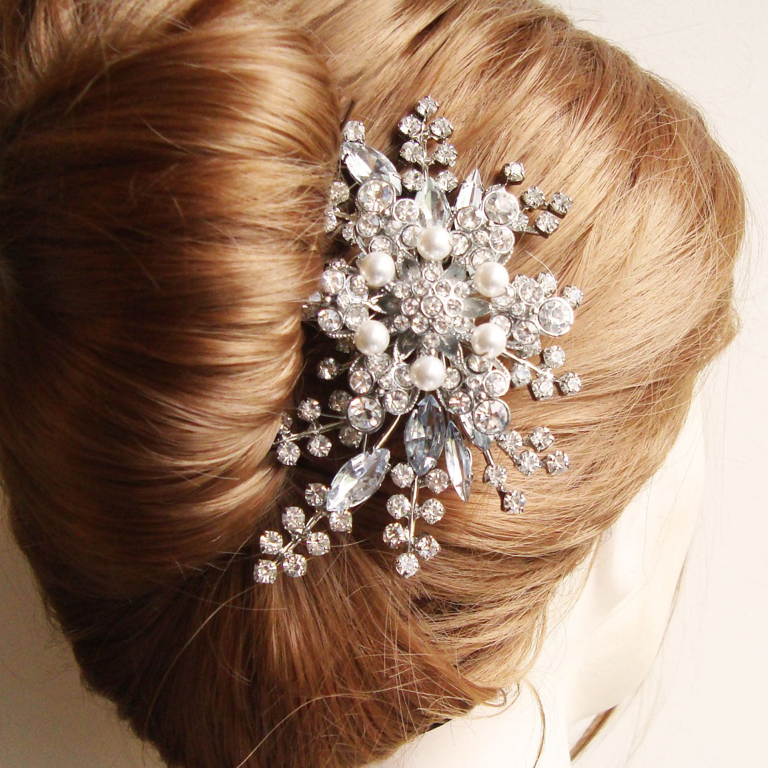 rhinestone hair comb, bridal hair comb, french twist comb, wedding