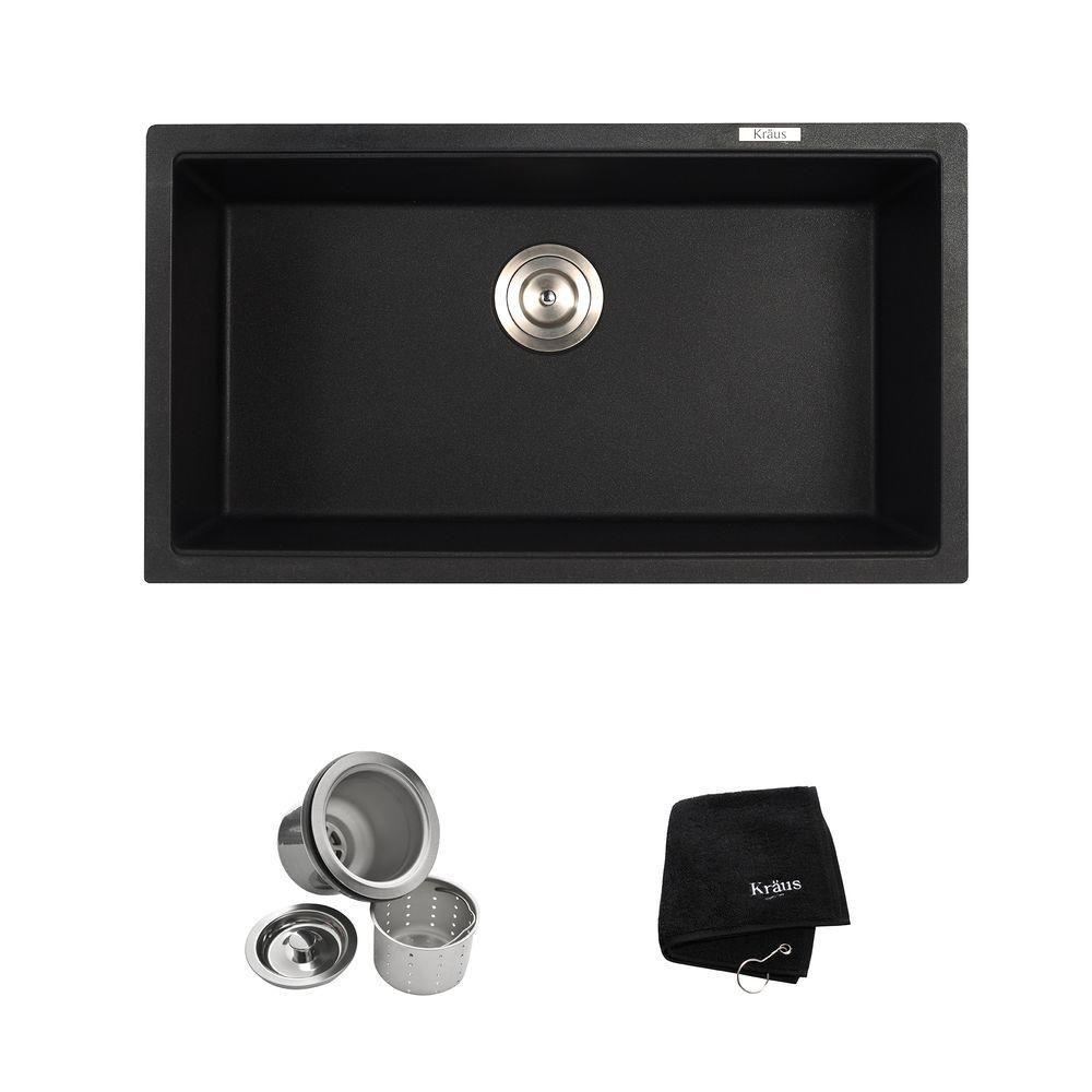 Undermount Granite Composite 32 in. Single Bowl Kitchen Sink Kit in ...