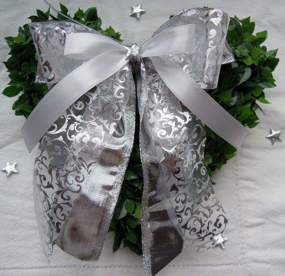 Details Zu Weihnachtsschleifen Silber Weiss Christbaumschmuck
