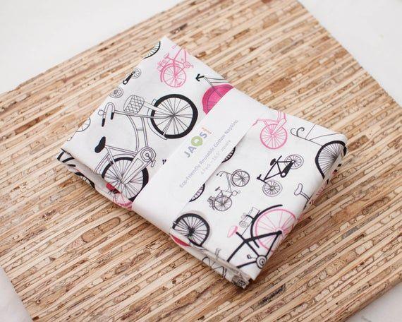 Large Cloth Napkins - Set of 4 - (N4797) - Bicycles Pink Black Reusable Fabric Napkins #clothnapkins