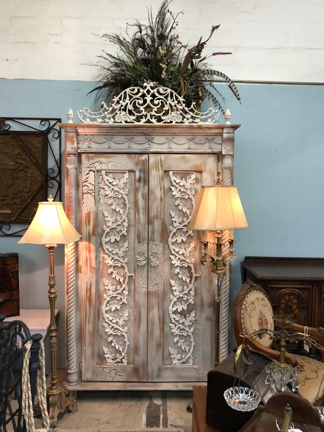 Delicieux White Wash Armoire With Antique Wrought Iron Accents On Sale Was $1099 Sale  Price $799 My