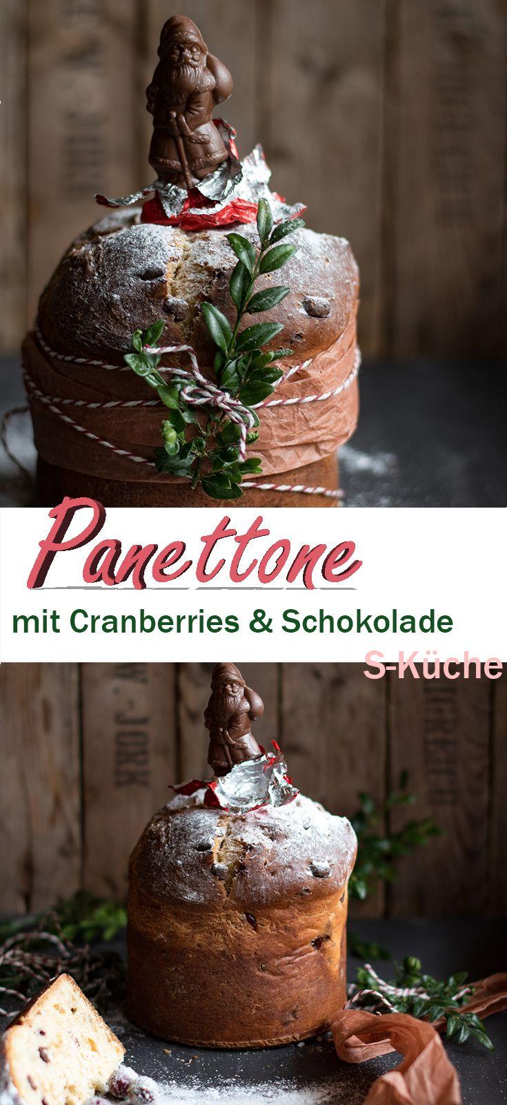 Italienischer Panettone Mit Cranberries Und Schokolade Hefeteig