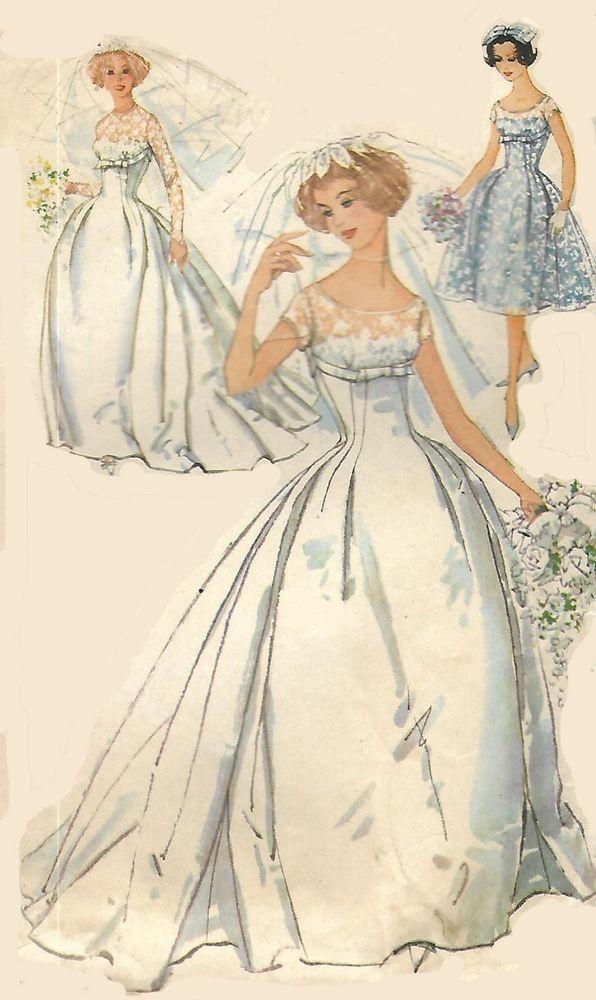 Vintage 1950s Sewing Pattern Romantic Wedding Dress Bridal Train Bust