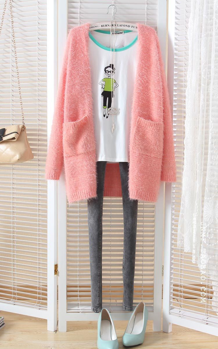 Autumn and winter cardigans women,new fresh candy color mohair ...