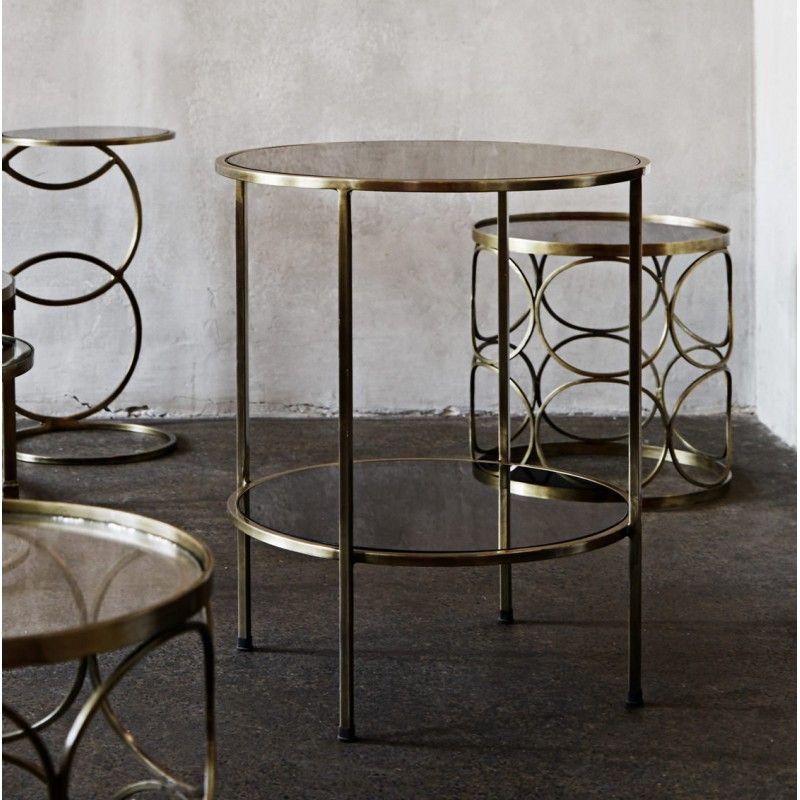 Madam Stoltz Coffee Table Side Table Brass Dark Glass 2 296 O50cm H60cm Table Coffee Table Brass Side Table