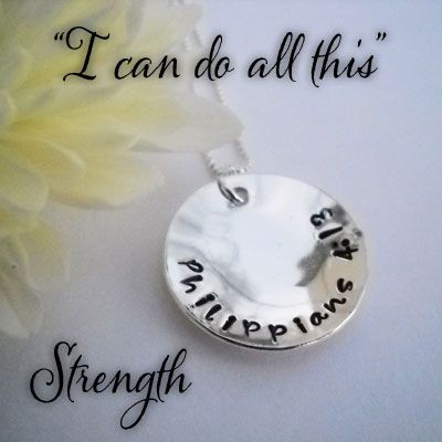 STRENGTH Philippians 4:13 Sterling Silver Necklace – ChristianGiftsPlace.com Online Store