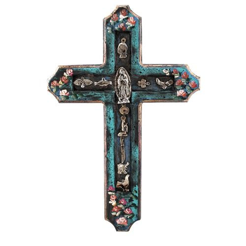 Mexican Handpainted Cross With Milagros Ol Of Guadalupe 12