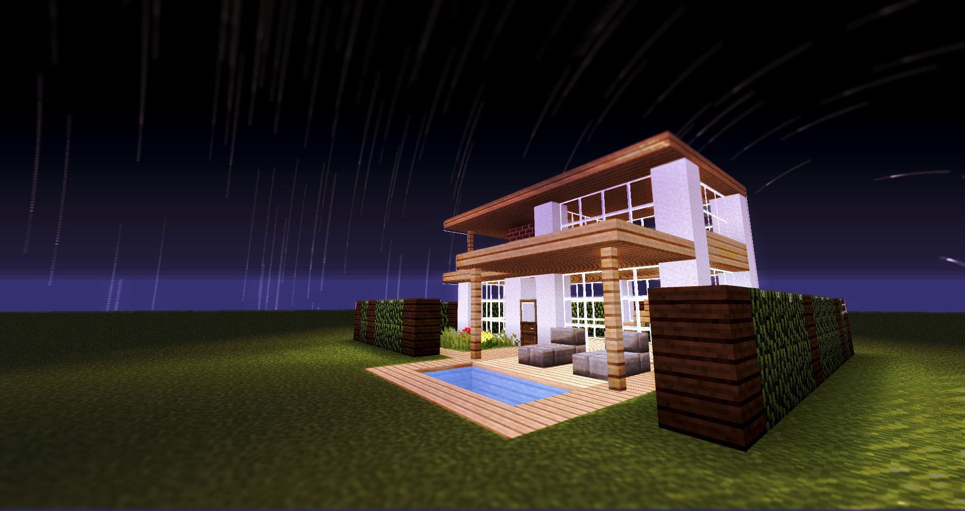 Minecraft House Time-lapse Star Trail | Easy minecraft ...