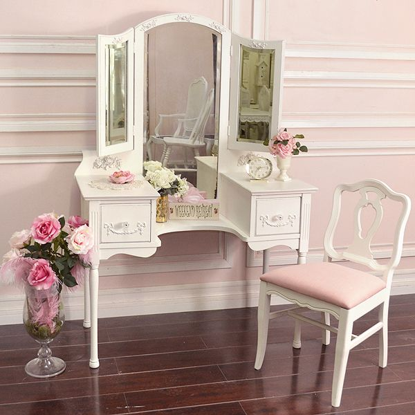 Shabby Cottage Chic French Vintage Style Vanity Makeup Table Trifold Mirror 795