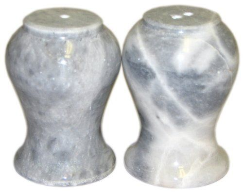 Cloudy Grey Marble Salt n & and Pepper Set by Marble 'n things. $19.95. Same day shipping on all orders. Made out of one-piece marble stone. Manufacturer's Every Day Low Pricing. Salt & Pepper set 2 3/4 x 2 inch. Cloudy Grey Marble. Please note: Marble is a product of nature so every salt & pepper set will be unique.