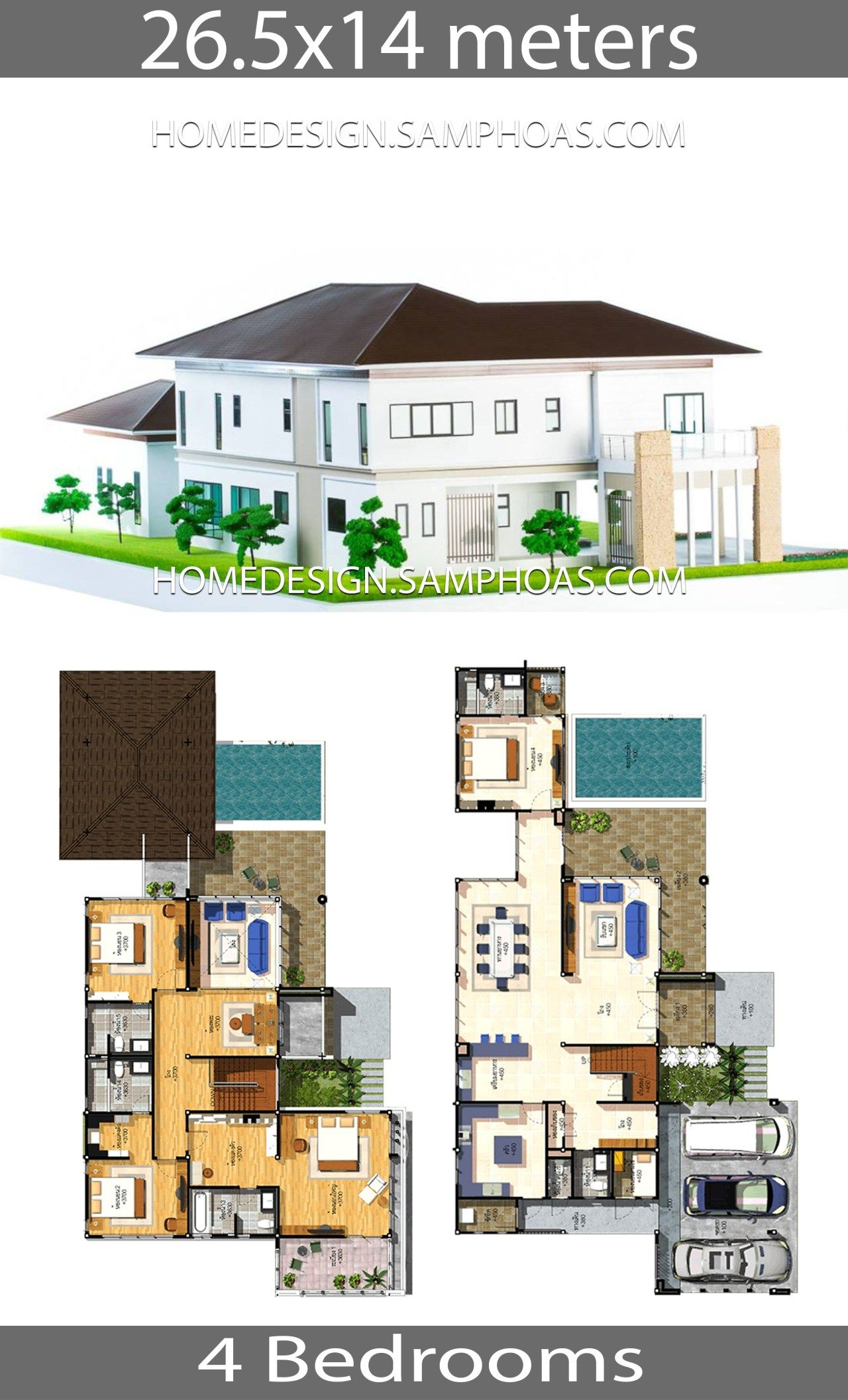 House Plans Idea 26 5x14 With 4 Bedrooms Home Ideas House House Layout Plans House Plans