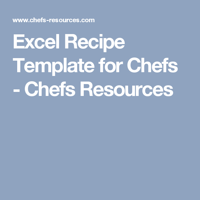 excel recipe template for chefs recipes pinterest professional