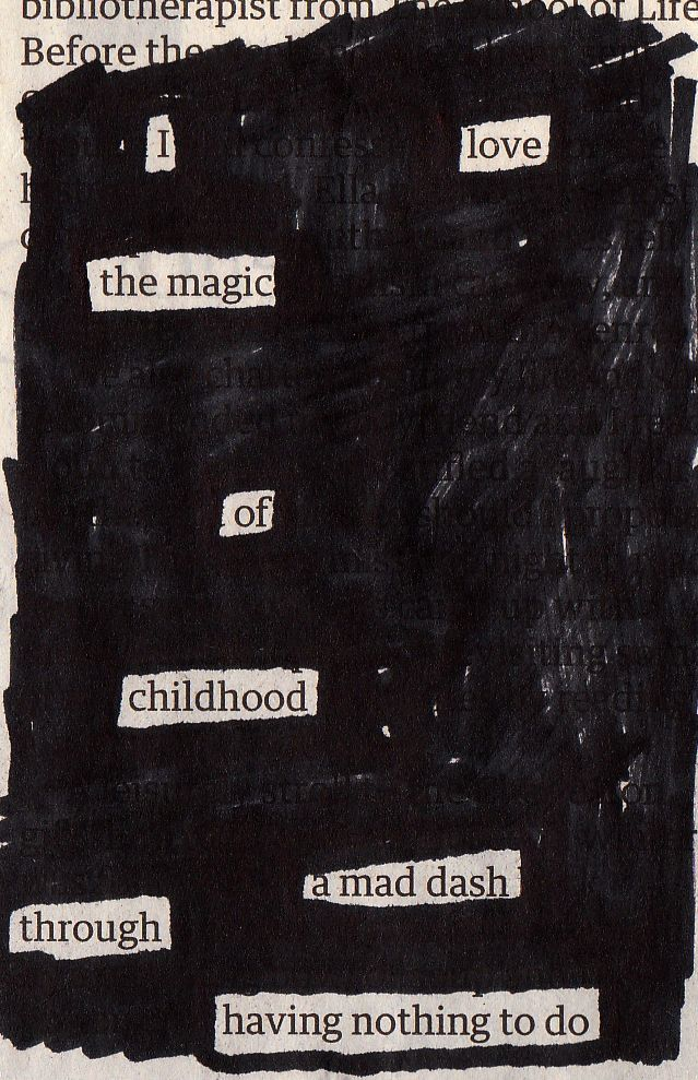 These are two of my newspaper blackout poems, inspired by Austin Kleon. They are created by picking out words from newspaper articles in order to create new meaning. I think it's reall…