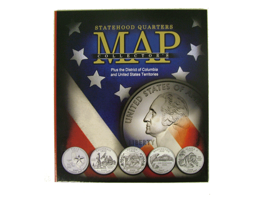 Statehood Quarters Collectors Map New Compact Size Display your