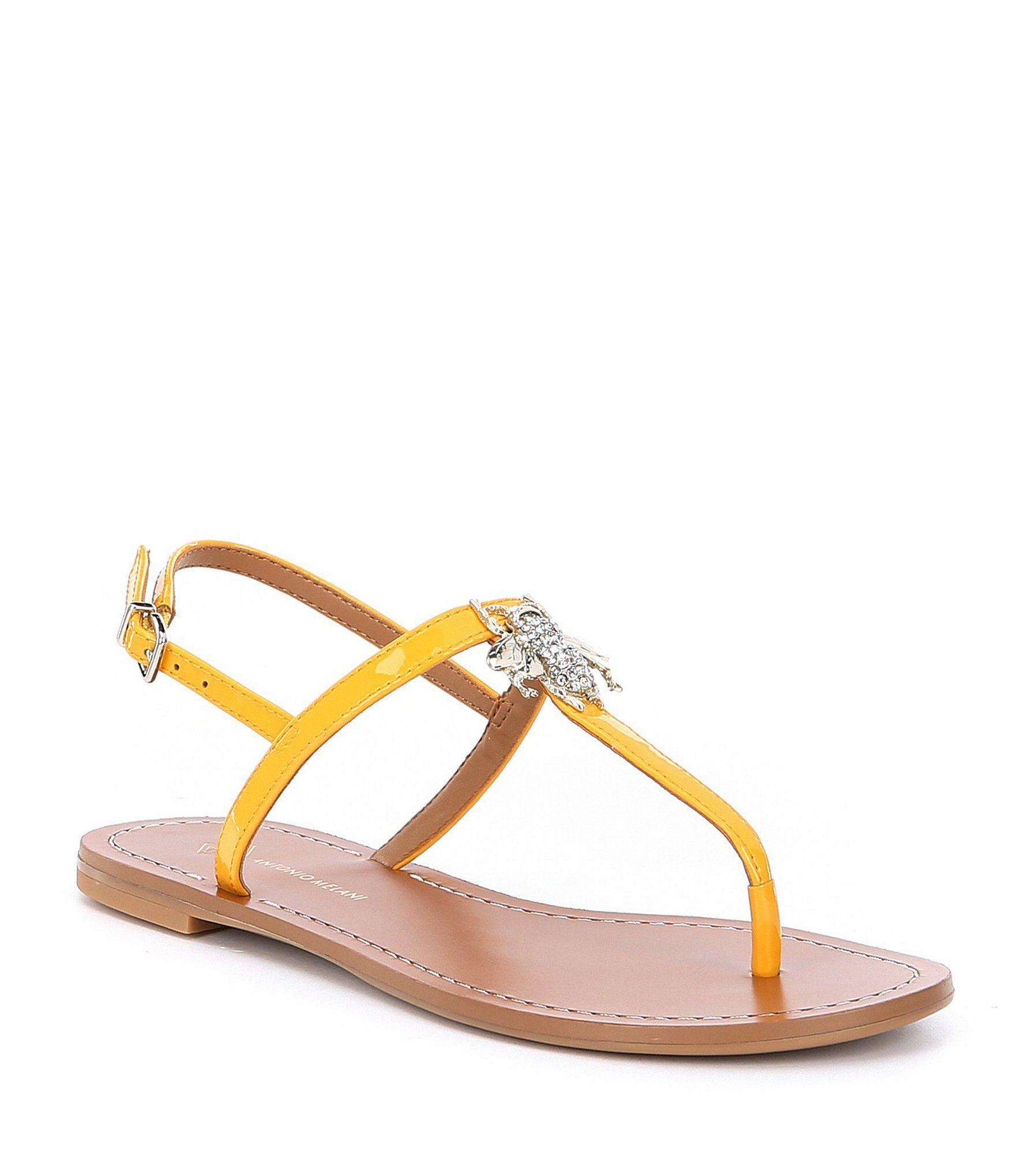 Bieah Patent Leather Jewel Bee Ornament Thong Sandals 2fk2F7w1i