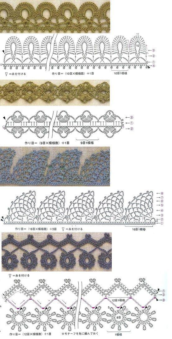 Crochet edging diagrams | crucigramas crochet | Pinterest | Utiles ...