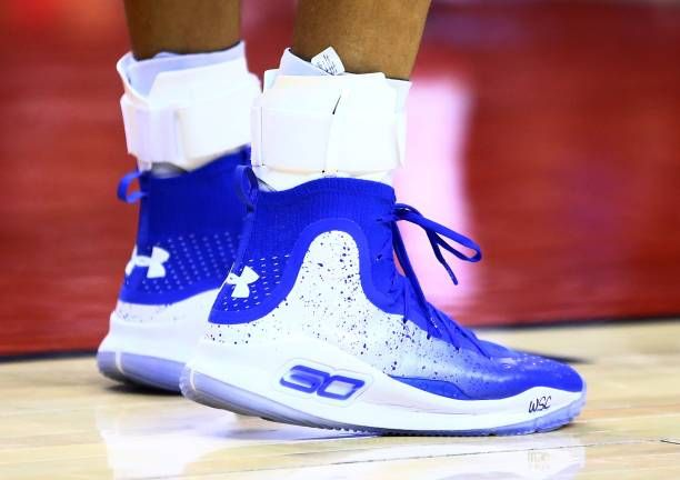 The Shoes Worn By Stephen Curry Of The Golden State Warriors During