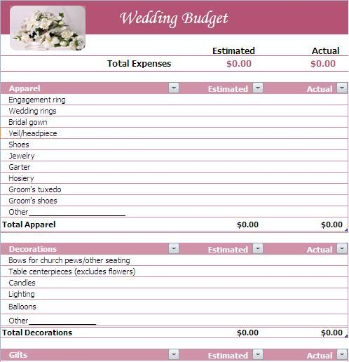 Wedding Budget  Budgeting Wedding Planning Budgets And Wedding