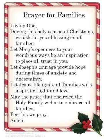 christmas prayer for family prayer for families sayings
