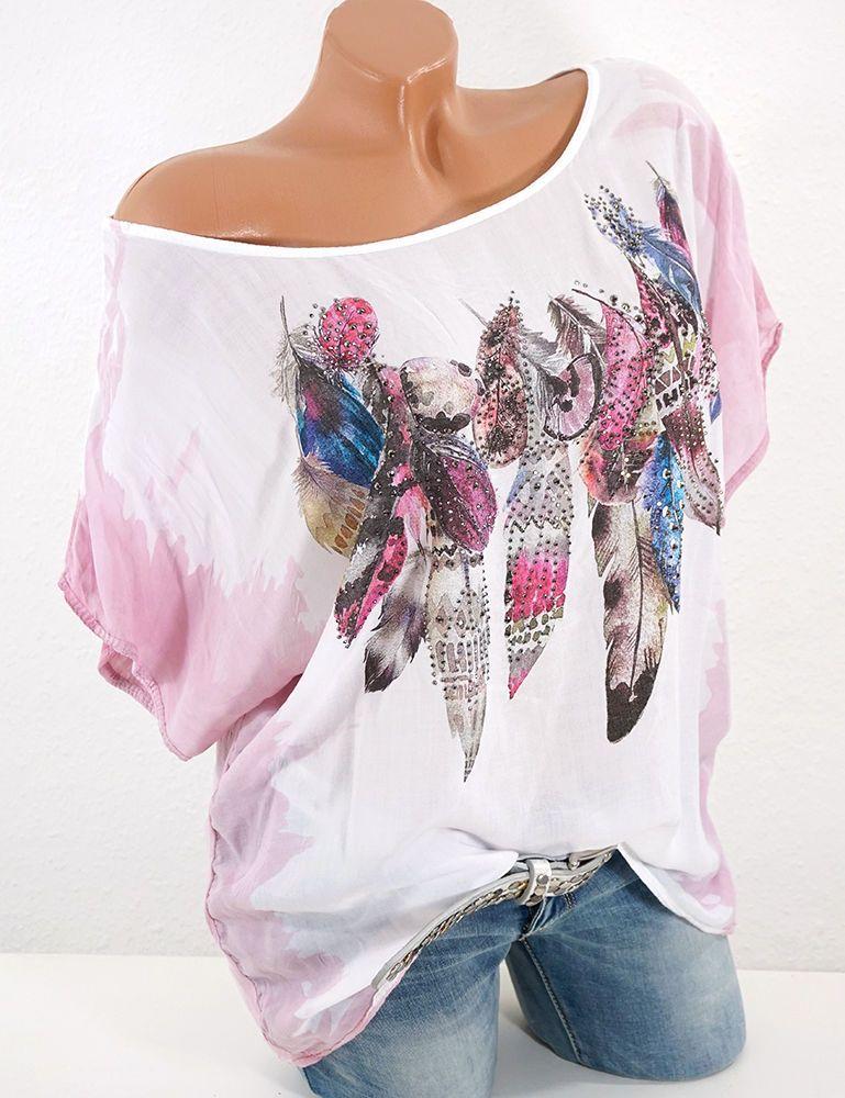 Italy Damen Tunika Shirt Bluse doppellagig Vintage Federn Druck 42 44 46