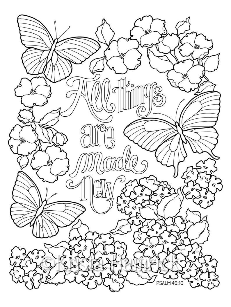 Inspirational Butterfly Garden Series Of Three Coloring Pages Etsy Bible Coloring Pages Coloring Pages Inspirational Butterfly Coloring Page