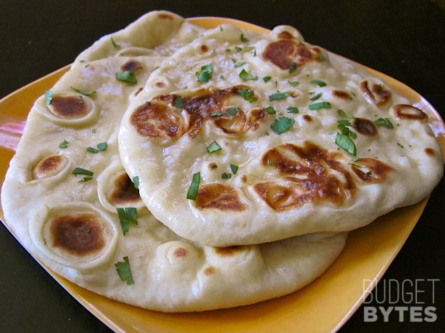 Easy Homemade Naan Recipe Step By Step Photos Budget Bytes Recipe Recipes Food Yummy Food