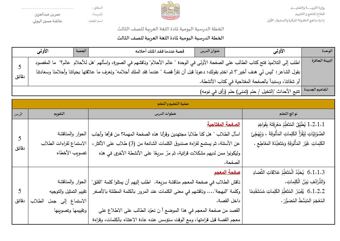 الخطة الدرسية اليومية لدرس عندما فقد الملك احلامه للصف الثالث مادة اللغة العربية Periodic Table Diagram