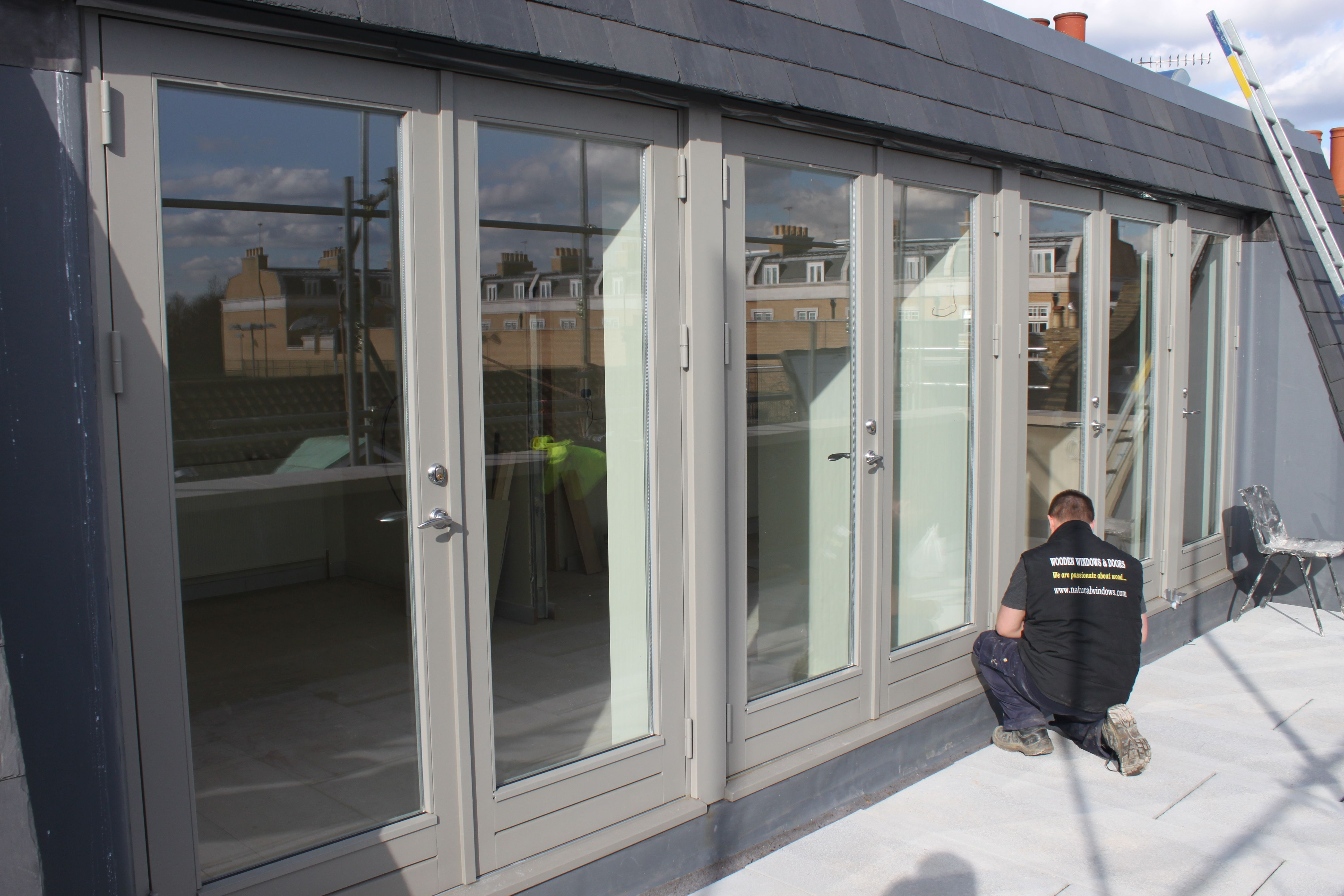 new engineered wood french doors ral7030 stone grey